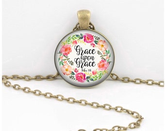 Grace upon Grace Pendant  Hymn Key Ring Christian Gift Idea  Christian Music  Religious Gift