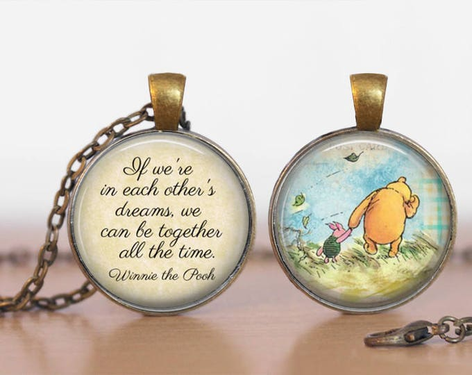Long Distance Love Winnie the Pooh and Piglet Double Sided  Pendant Double Pendant Two Sided Necklace
