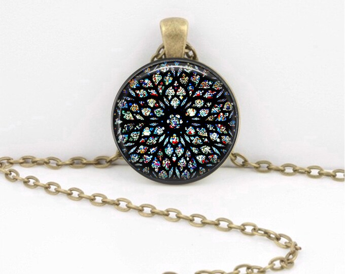 Stained Glass Rose Window Sainte Chapelle Paris Gothic Cathedral Pendant Necklace Jewelry or Key Ring