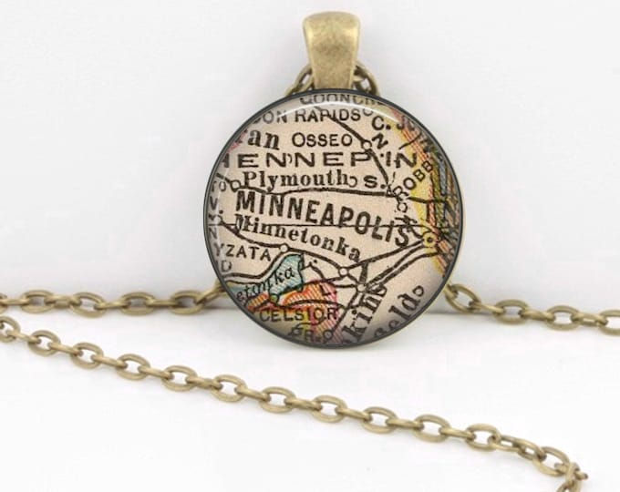 Minneapolis Minnesota Vintage Map Geography Gift  Pendant Necklace or Key Ring