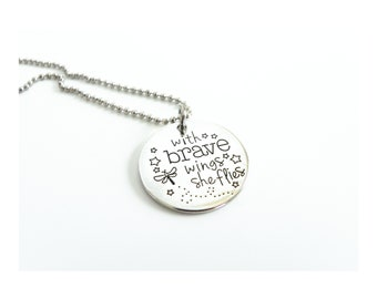 With Brave Wings She Flies - Graduation Gift - Inspiration Jewelry - Necklace - Key Ring