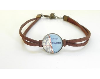 Northwestern University - Vintage Map - Leather Bracelet -  Map Jewelry