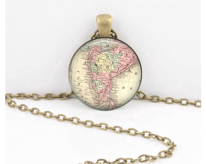 India Vintage Map Geography Gift  Pendant Necklace or Key Ring