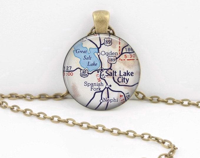 Salt Lake City - Utah - Map  Necklace Vintage Map Pendant Necklace or Key Ring