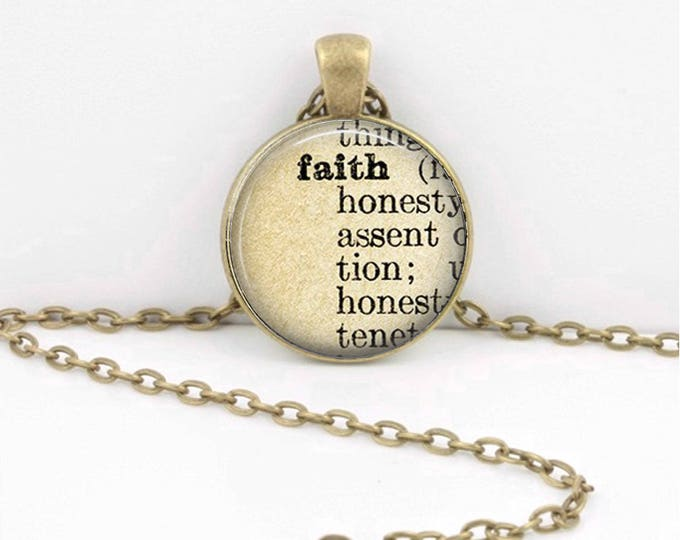 Faith Dictionary Inspirational Word Art Glass Pendant or Key Chain