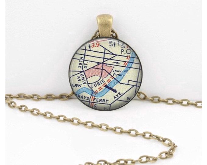 University of Pennsylvania UPenn Philadelphia PA Vintage Map Geography Gift  Pendant Necklace or Key Ring