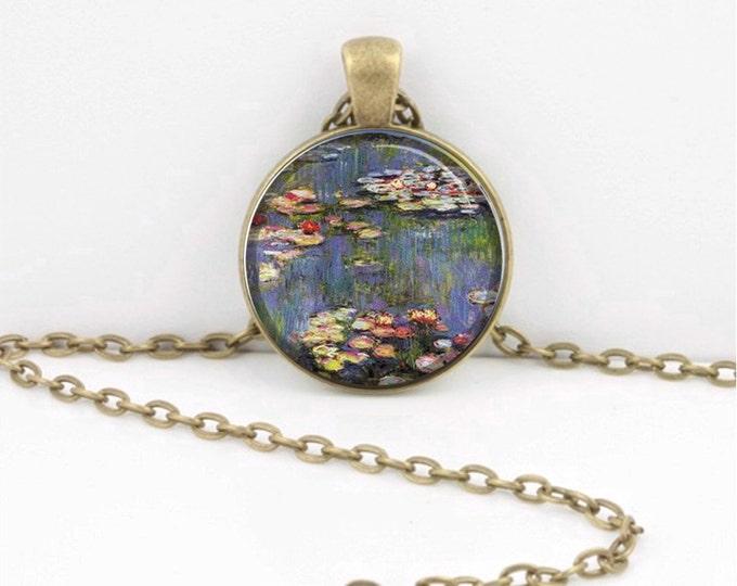 Claude Monet Impressionism Waterlilies Pendant Necklace or Key Ring Art Pendant