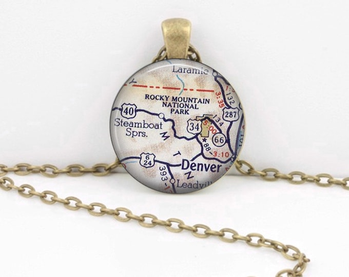Rocky Mountain National Park - Colorado - Denver - Steamboat Springs-  Map  Necklace Vintage Map Pendant Necklace or Key Ring