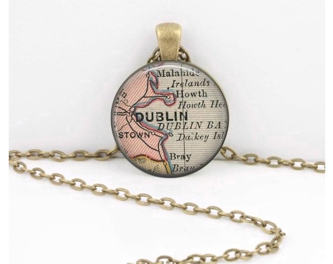 Dublin Ireland Vintage Map 1920s map Irish Geography Gift  Pendant Necklace or Key Ring