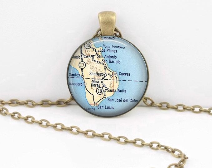 Cabo San Lucas Mexico Baja Peninsula Map Pendant Necklace or Key Ring
