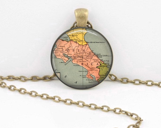 Costa Rica Vintage Map  Geography Gift  Pendant Necklace or Key Ring