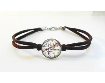 Sewanee TN - University of the South Map Bracelet - Vintage Map - Leather Bracelet -  Map Jewelry