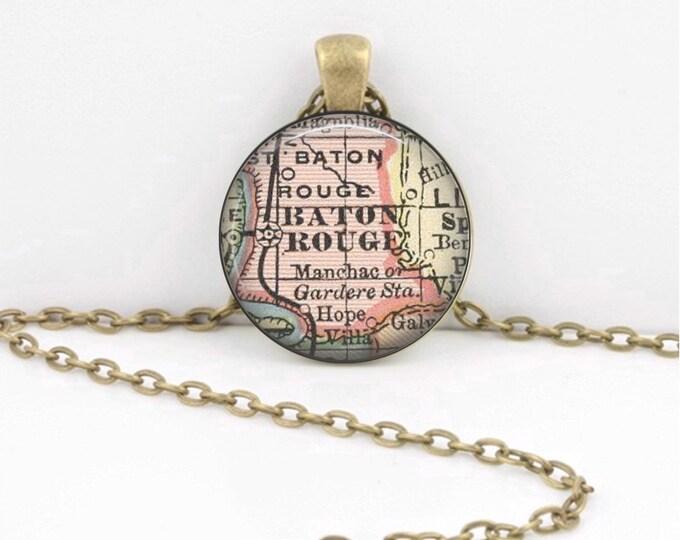 Baton Rouge Louisiana  Vintage Map Geography Gift  Pendant Necklace or Key Ring