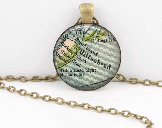 Hilton Head South Carolina Vintage 1927 Map Geography Gift  Pendant Necklace or Key Ring
