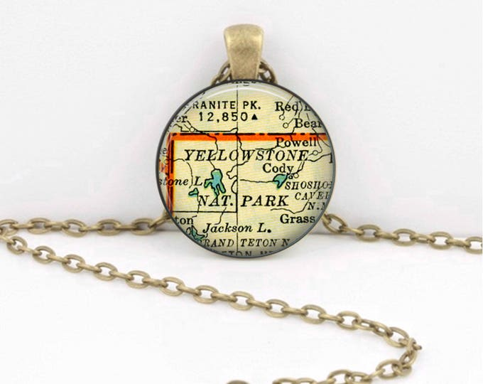 Yellowstone National Park Vintage Map Keepsake Vintage Map Geography Gift  Pendant Necklace or Key Ring
