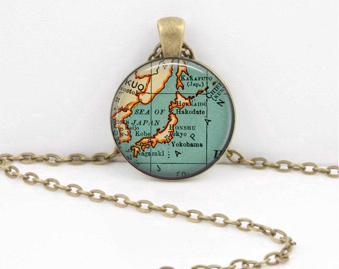 Japan Necklace Keepsake Vintage Map Geography Gift  Pendant Necklace or Key Ring
