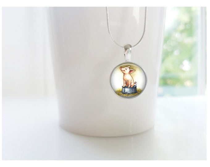 Charlotte's Web Some Pig Wilbur Sterling Silver Pendant Necklace