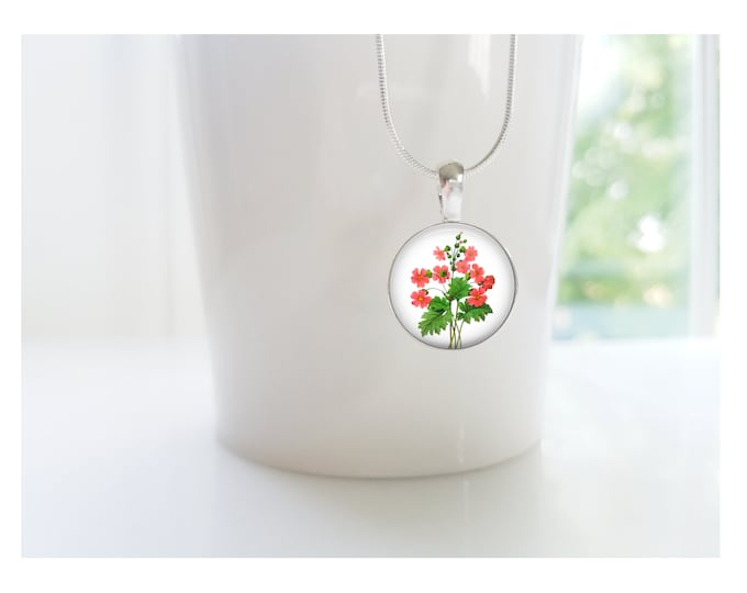 July Birthday Larkspur Delphinium Flower of the Month Pendant, Sterling Silver Birthday Necklace, Bridesmaid Gift, Birth Month Flower Gift