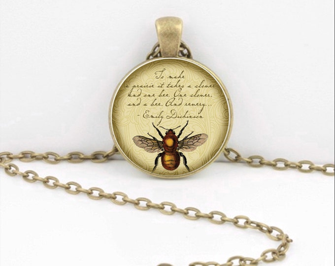 Bumblebee Queen Bee  Emily Dickinson Vintage Print Glass Pendant Necklace or Key Ring