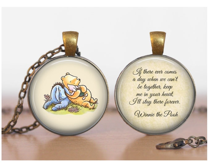 Pooh and Eeyore with Piglet Winnie the Pooh Double Sided Pendant Double Pendant Two Sided Necklace