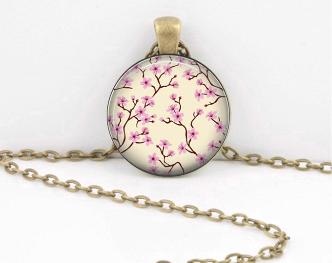 Spring Cherry Blossoms Delicate Floral Art Pendant Necklace Inspiration Jewelry or Key Ring