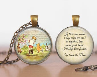 Winnie the Pooh Double Sided  Pendant Double Pendant Two Sided Necklace