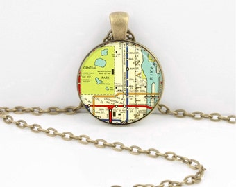New York City NYC Transit Map  Upper East Side Lexington Ave  Vintage Map  Geography Gift  Pendant Necklace or Key Ring