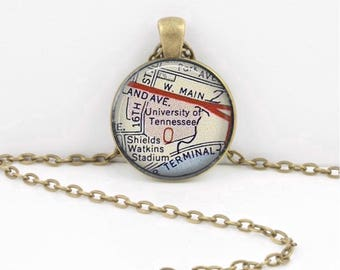 University of Tennessee Map Geography Gift Graduation Gift New Grad Pendant Necklace or Key Ring