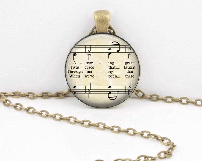 Amazing Grace Sheet Music Hymn - Fellowship Gift - Pendant Key Ring Christian Gift Idea  - Christian Music  - Religious Gift