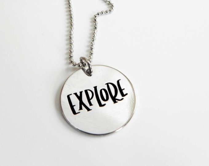 Explore Silver Stamped  Necklace - Graduation Inspirational  Pendant,  Compass Journey Pendant Necklace or Key Ring