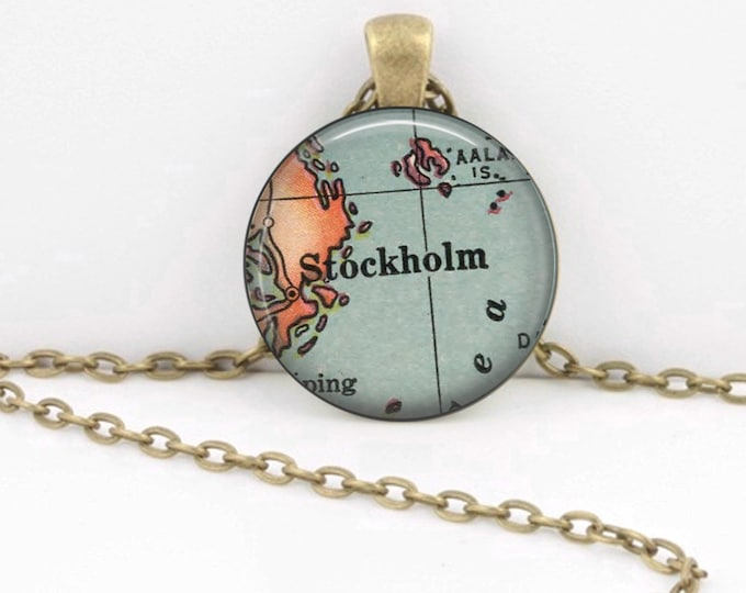 Stockholm Sweden Vintage 1920s Map Geography Gift  Pendant Necklace or Key Ring