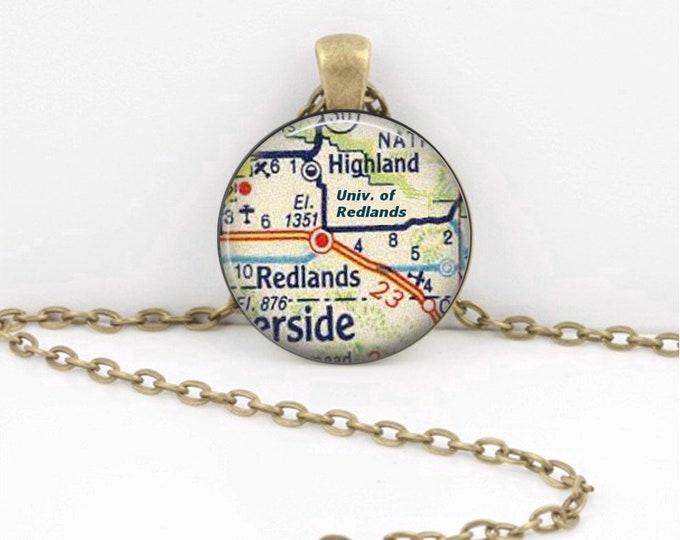Redlands California - Grad Gift - University of Redlands - Vintage Map Pendant Necklace or Key Ring