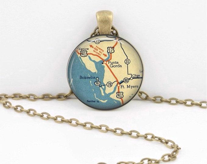 Punta Gorda Sanibel Ft Myers Florida Map Pendant Vintage Map Geography Gift  Pendant Necklace or Key Ring