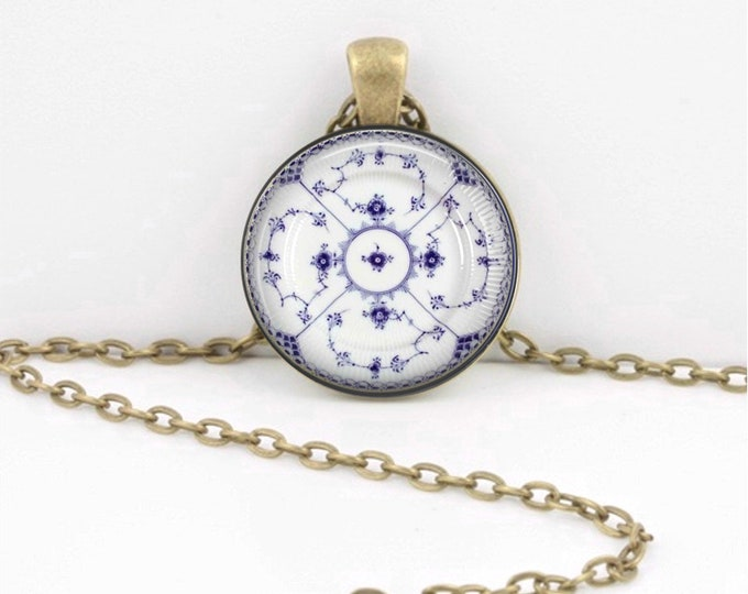 Royal Copenhagen Plate Blue and White Pendant Necklace Inspiration Jewelry or Key Ring