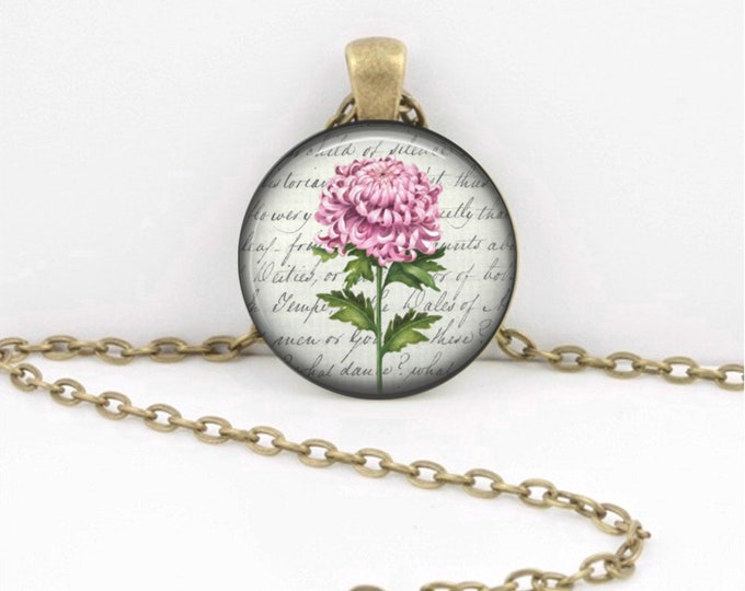 Birth Month Flower Necklace - November - Chrysanthemum - Gift Pendant Necklace Jewelry or Key Ring
