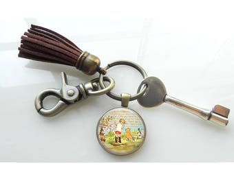 Key Ring Classic Winnie the Pooh and Christopher Robin Key Ring Key Chain with Leather Tassel