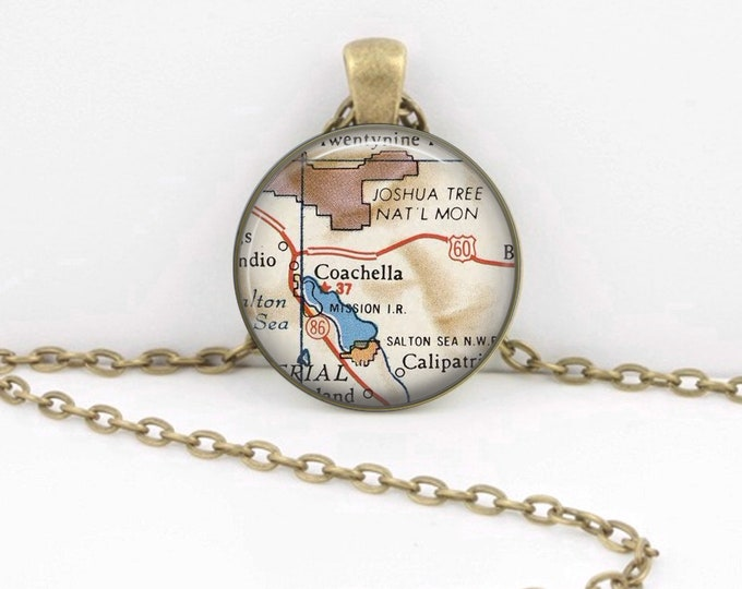 Coachella Map Vintage Map Geography Gift  Pendant Necklace or Key Ring