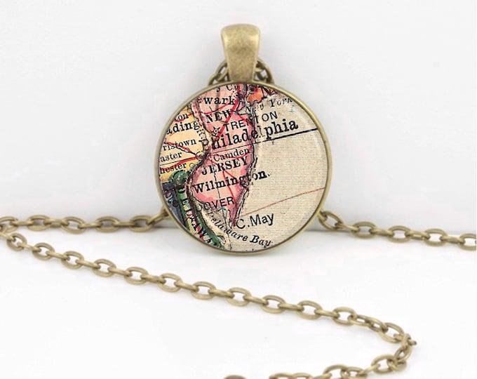 Vintage Map New Jersey Philadelphia Travel Gift Pendant Necklace or Key Ring