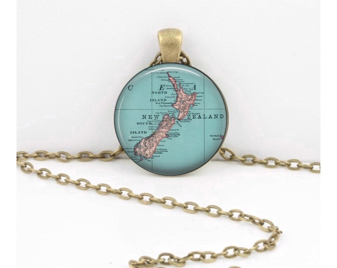 New Zealand Vintage Map from 1905 Geography Gift  Pendant Necklace or Key Ring