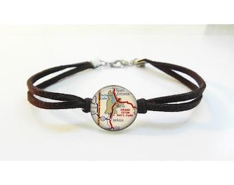Grand Teton National Park Map Bracelet - Vintage Map - Leather Bracelet -  Map Jewelry