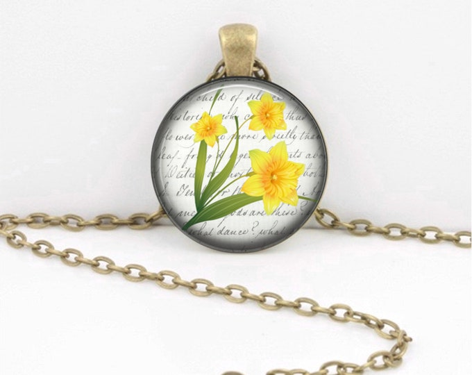 Birth Month Flower Necklace - March - Daffodil - Gift Pendant Necklace Jewelry or Key Ring