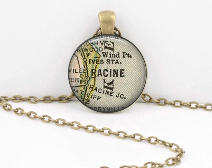 Racine Wisconsin Vintage Map Geography Gift  Pendant Necklace or Key Ring