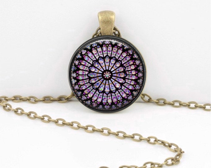 Rose Window Stained Glass Notre Dame de Paris Cathedral Pendant Necklace Inspiration Jewelry or Key Ring