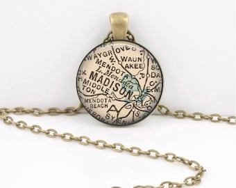 Madison Wisconsin Lake Mendota WI Vintage Map from the 1920s Geography Gift  Pendant Necklace or Key Ring