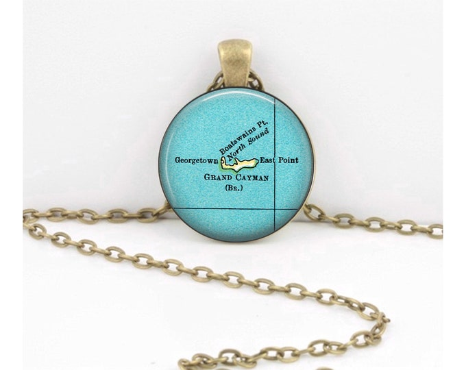 Grand Cayman Cayman Islands Map Pendant Vintage Map Geography Gift  Pendant Necklace or Key Ring