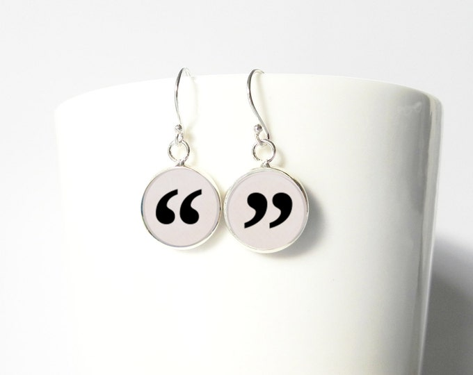 Quotes Quotation Marks Quote Marks Quote Unquote Dangle Pendant Earrings Teacher Writer Journalist Gift  Sterling Silver Jewelry