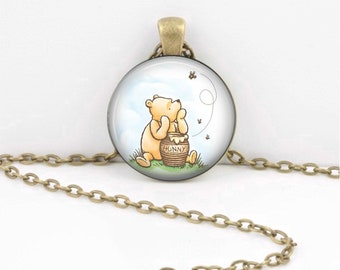 Classic Pooh and Honey Pot with Bees Winnie the Pooh Pendant Necklace or Key Ring