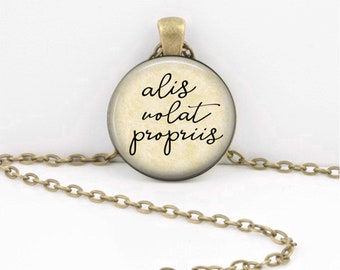 Alis Volat Propriis - Gifts for Her - Latin Quote Jewelry - Graduation Gift - Her Own Wings Quote