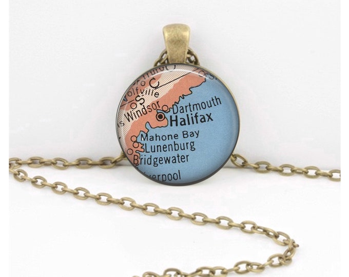 Halifax Nova Scotia Canada Vintage 1950s Map Geography Gift  Pendant Necklace or Key Ring