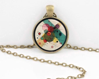 Kandinsky Bauhaus Abstract Modernist Art Circles in Circle Glass Pendant Necklace Inspiration Jewelry or Key Ring